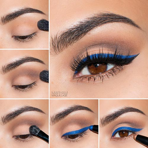 Blue Winged Liner Makeup Tutorial