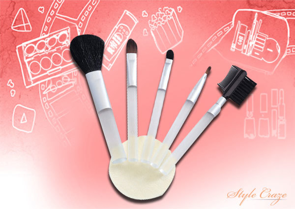 Basicare Cosmetic Tool Kit - 5 Cosmetic Brushes & Foundation Sponge