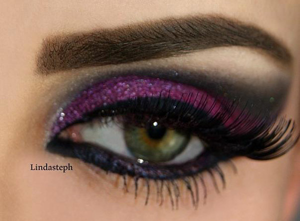 Bold Purple High-End Shadow Winged Eye Makeup