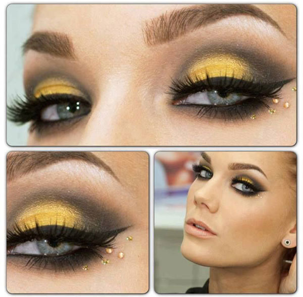 Charcoal And Yellow With Sequins