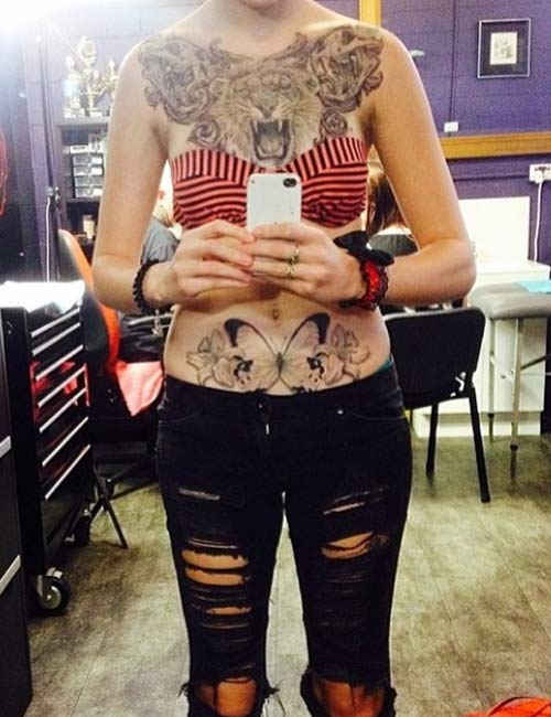 Cool Lion Chest Tattoo