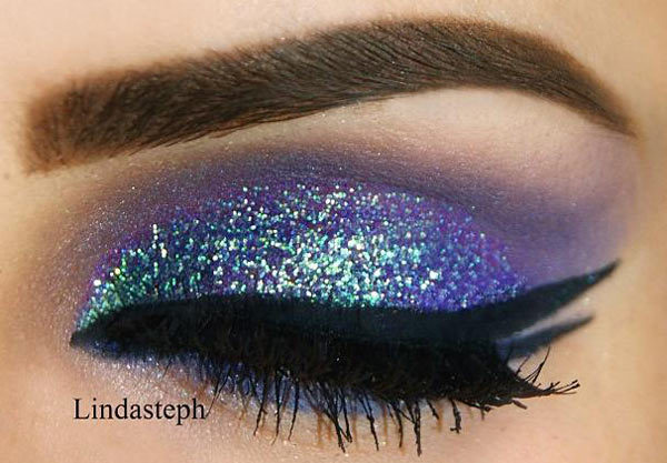 Glitter Peacock Eye Makeup