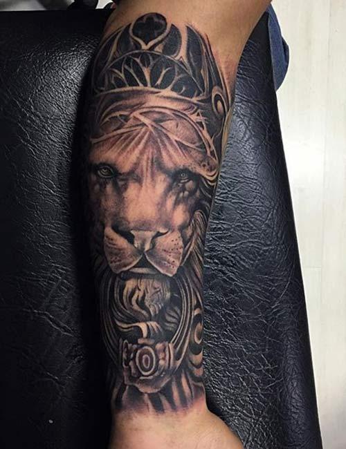 Inner Forearm Lion Tattoo