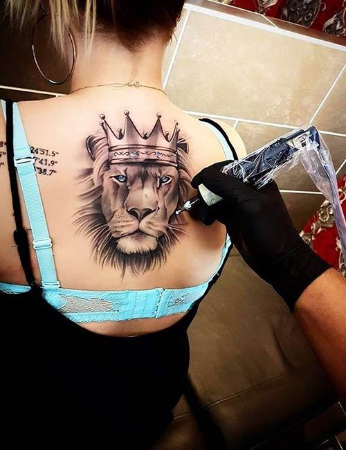 Lion Back Tattoo