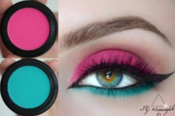Neon Pink And Blue Eye Makeup