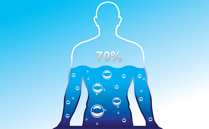 Science books say that 70 percent of our body weight is made up of water.