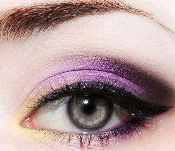 Smoky Light Purple And Yellow Eye Makeup