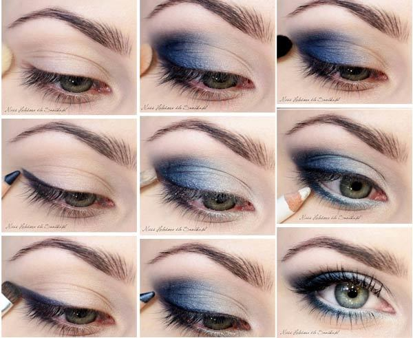 The Muted Smoky Blue Day Makeup Eyes