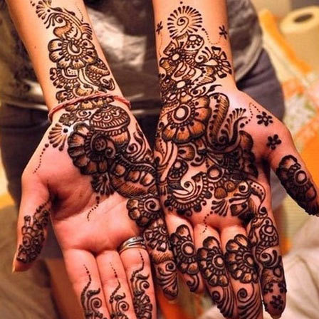 covered with mehendi designs