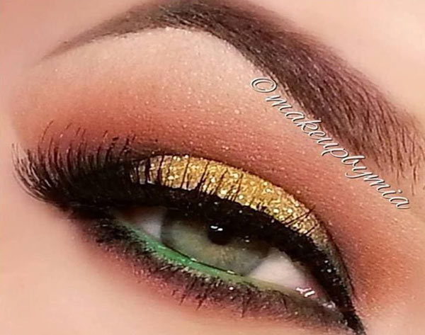 Gold And Green Eye Makeup
