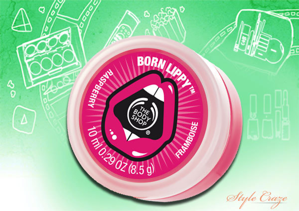 the body shop born lippy raspberry lip balm