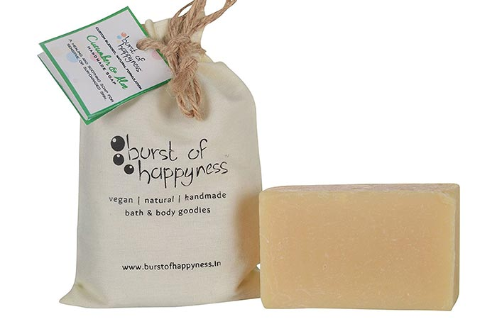 1.Burst Of Happyness Cucumber And Aloe Handmade Natural Soap