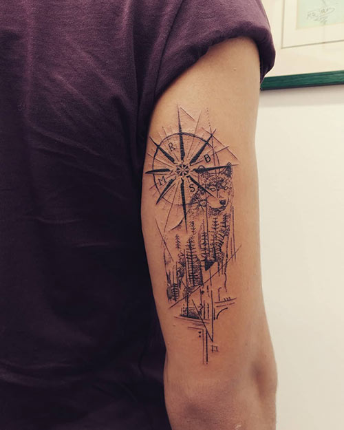 Compass Tattoo Behind The Arm