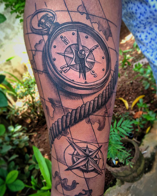 Spiral Clock Tattoo Designs