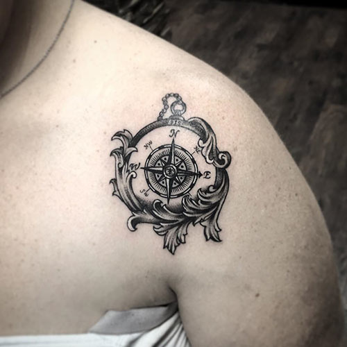 Bicep Compass Tattoo