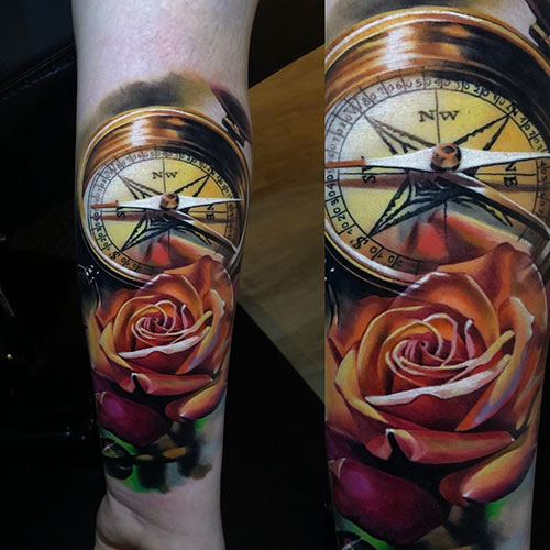 Embellished Compass Tattoo