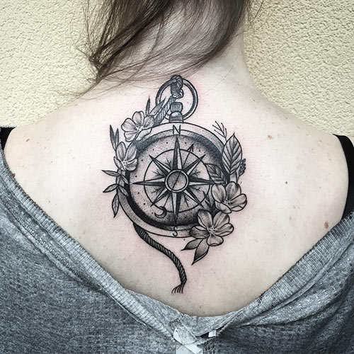 Back Flower Compass Tattoo