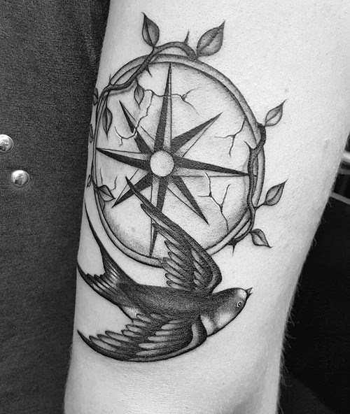 Bird Compass Tattoo