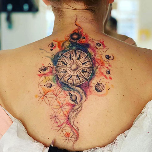 Celestial Compass Tattoo On Back