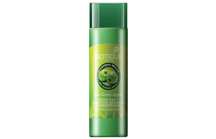3. Biotique Bio Green Apple Fresh Daily Purifying Shampoo And Conditioner
