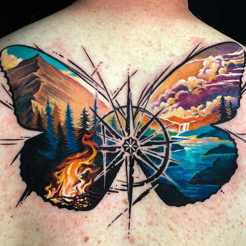 Unique Butterfly Compass Tattoo