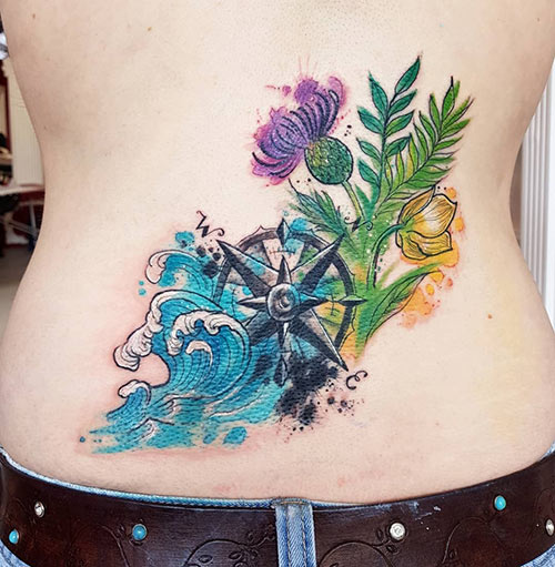 Lower Back Watercolor Compass Tattoo