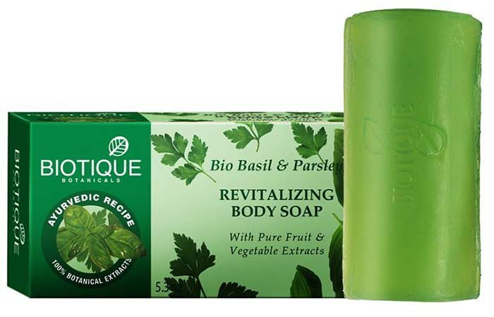 Best Soaps For Sensitive Skin - Biotique Bio Basil & Parsley Body Soap