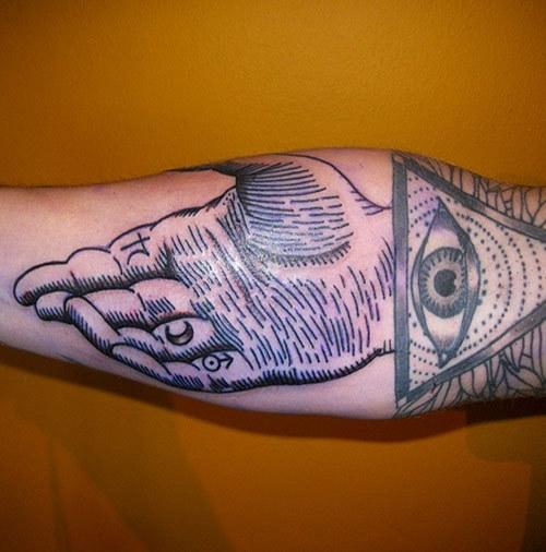 alchemy hand and masonic eye tattoo