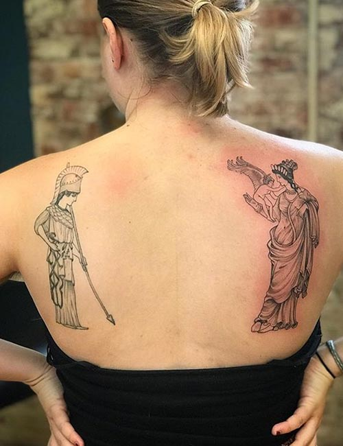 Athena And Aphrodite Back Tattoo