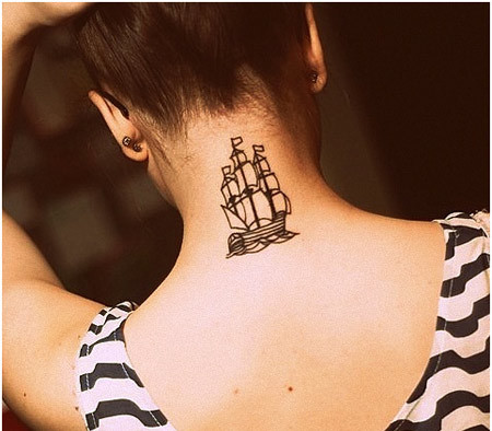 Back Neck Pirate Tattoo