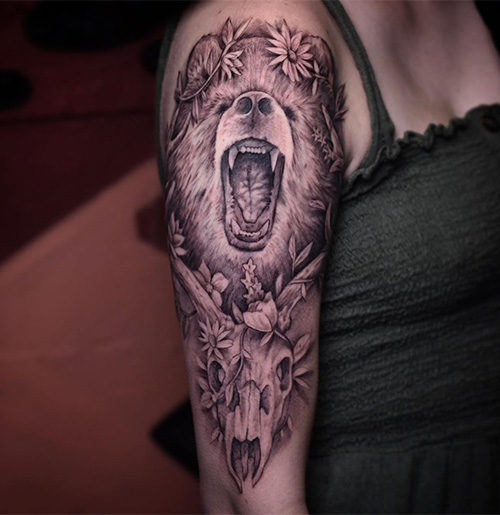 Bear Tattoo Design With Flowers On Forearm