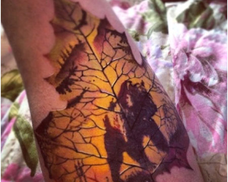 Bear on Maple Leaf Tattoo