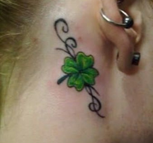 Behind-The-Ear Shamrock Tattoo