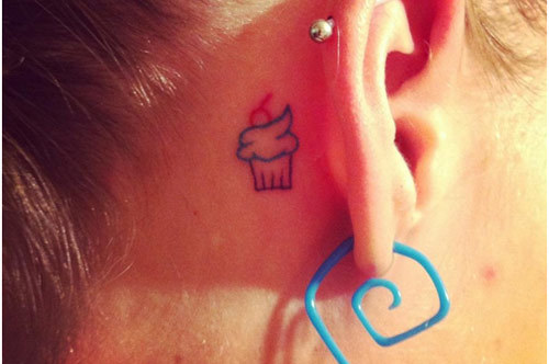 behind the ear cupcake tattoo