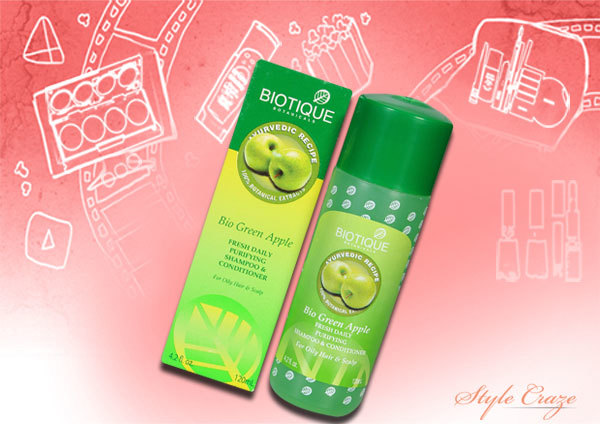 biotique bio green apple fresh daily purifying shampoo