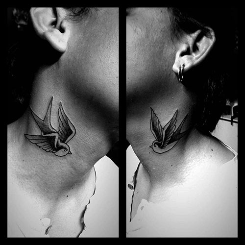Bird Tattoo On The Neck
