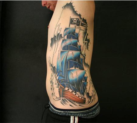 Blue Ship Pirate Tattoo