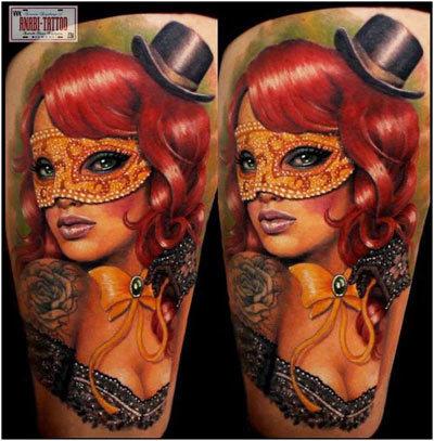 Bow mask tattoo