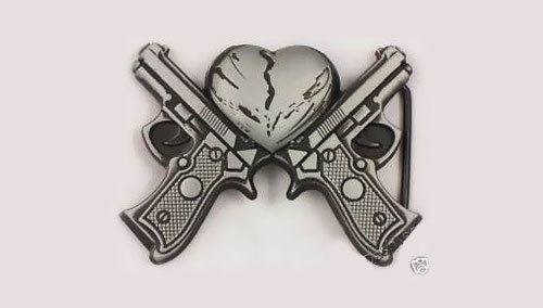 Gun shooting out hearts tattoo