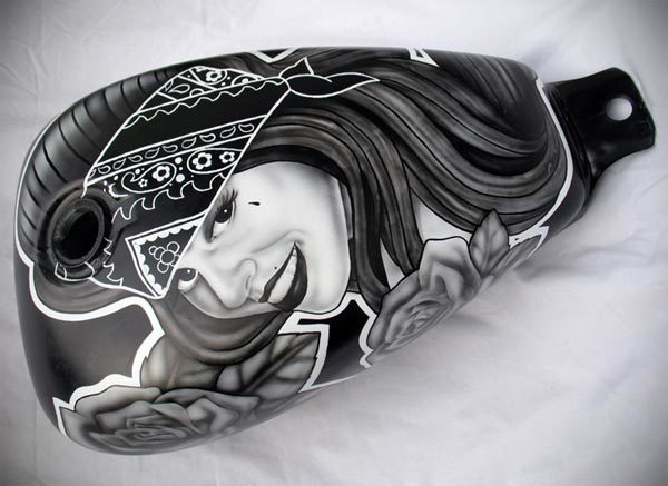 Chicano style airbrushed fuel tank