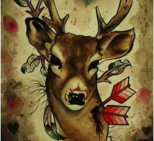 Colored Deer Tattoo