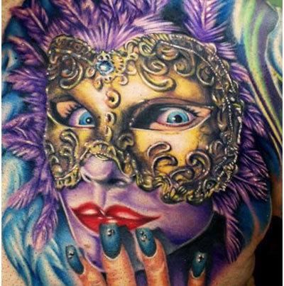 Colorful mask tattoo