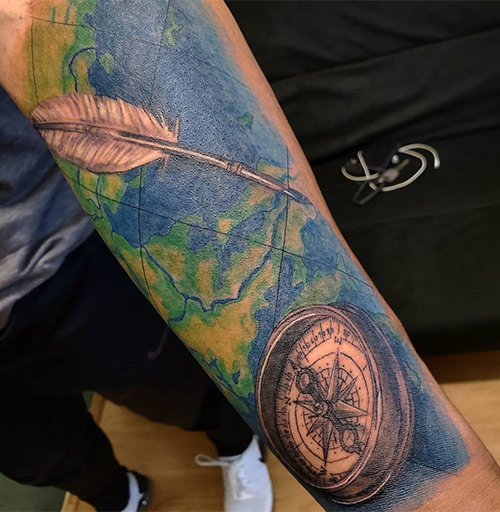 Watercolor Compass Tattoo On Forearm