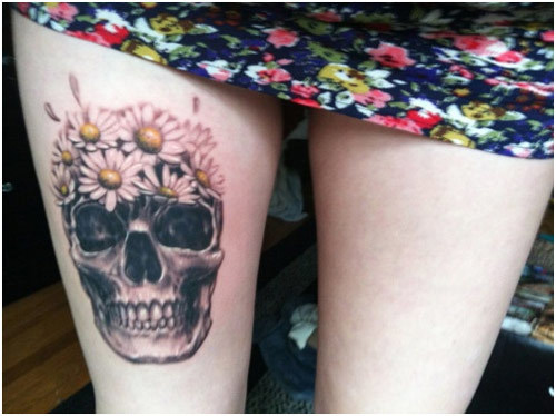 Daisies and Skull Tattoo