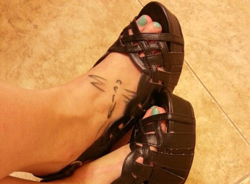 dragonfly tattoo for the foot