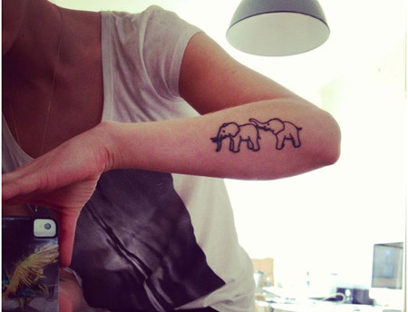 Dual Elephants Tattoo