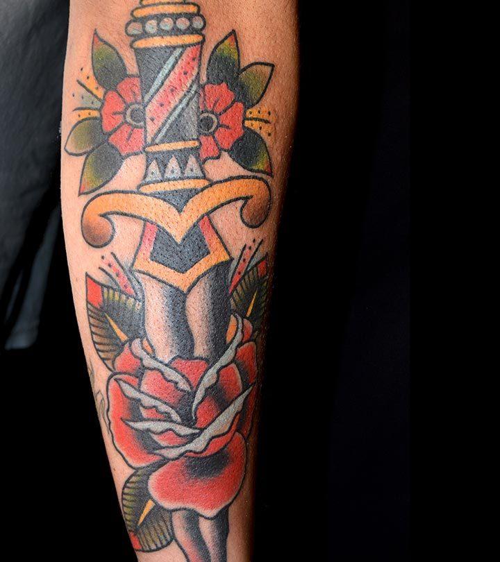 Fifteen-Dagger-Tattoo-Designs