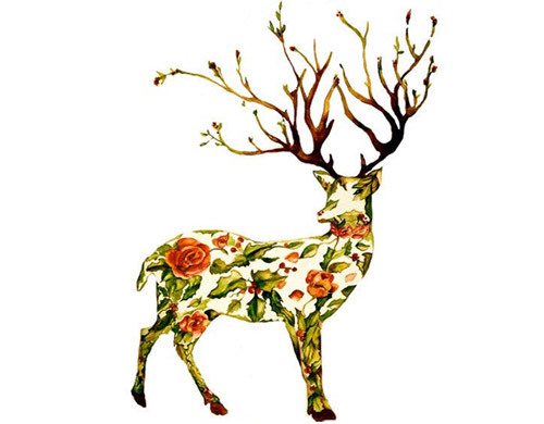 Floral Collage Deer Tattoo