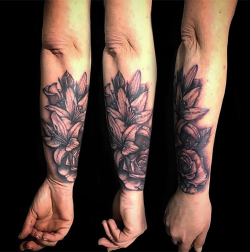 Floral Sleeve Tattoo Girl