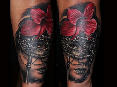 Flower mask tattoo